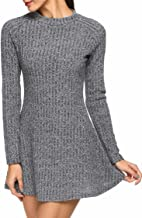 ANGVNS Women's Casual Knitted Stretch Long Sleeve Sweater A Line Mini Dress