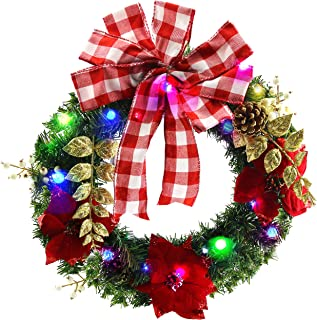 Athoinsu Pre-Lighting Halloween Christmas Wreaths with Pine Cones for Front Door Wall Xmas Holiday Party Decoration Gifts(Style 1)