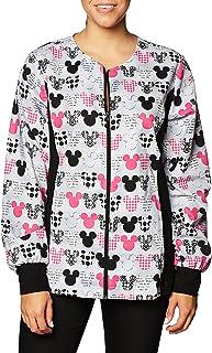 Cherokee Women's Tooniforms-Disney Zip Front Knit Panel Warm-up Jacket