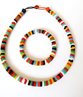 African Zulu beaded necklace and round bracelet set - Multicolour THREE (orange) - Gift for her