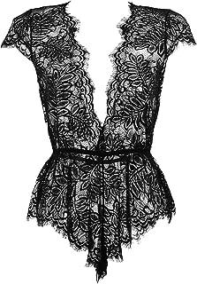 Anyou Women Lingerie V Neck Lace Bodysuit Mini Babydoll Features Plunging Eyelash XS-XXL