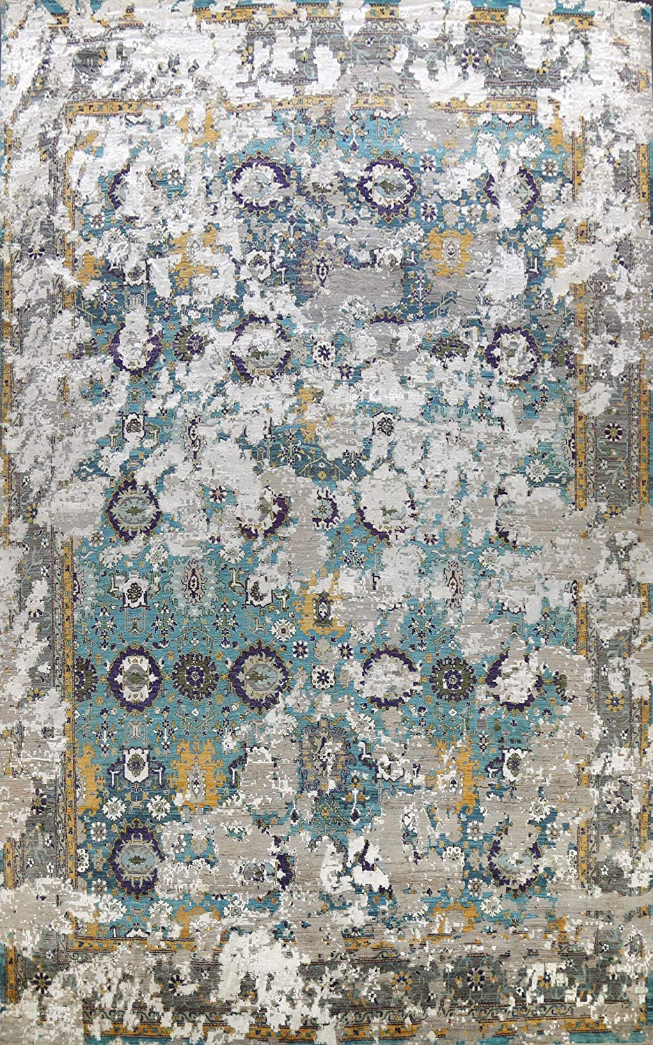 100% Vegetable Dye Distressed Abstract Wo Bargain sale Blue Fees free!! Area Rug Oriental
