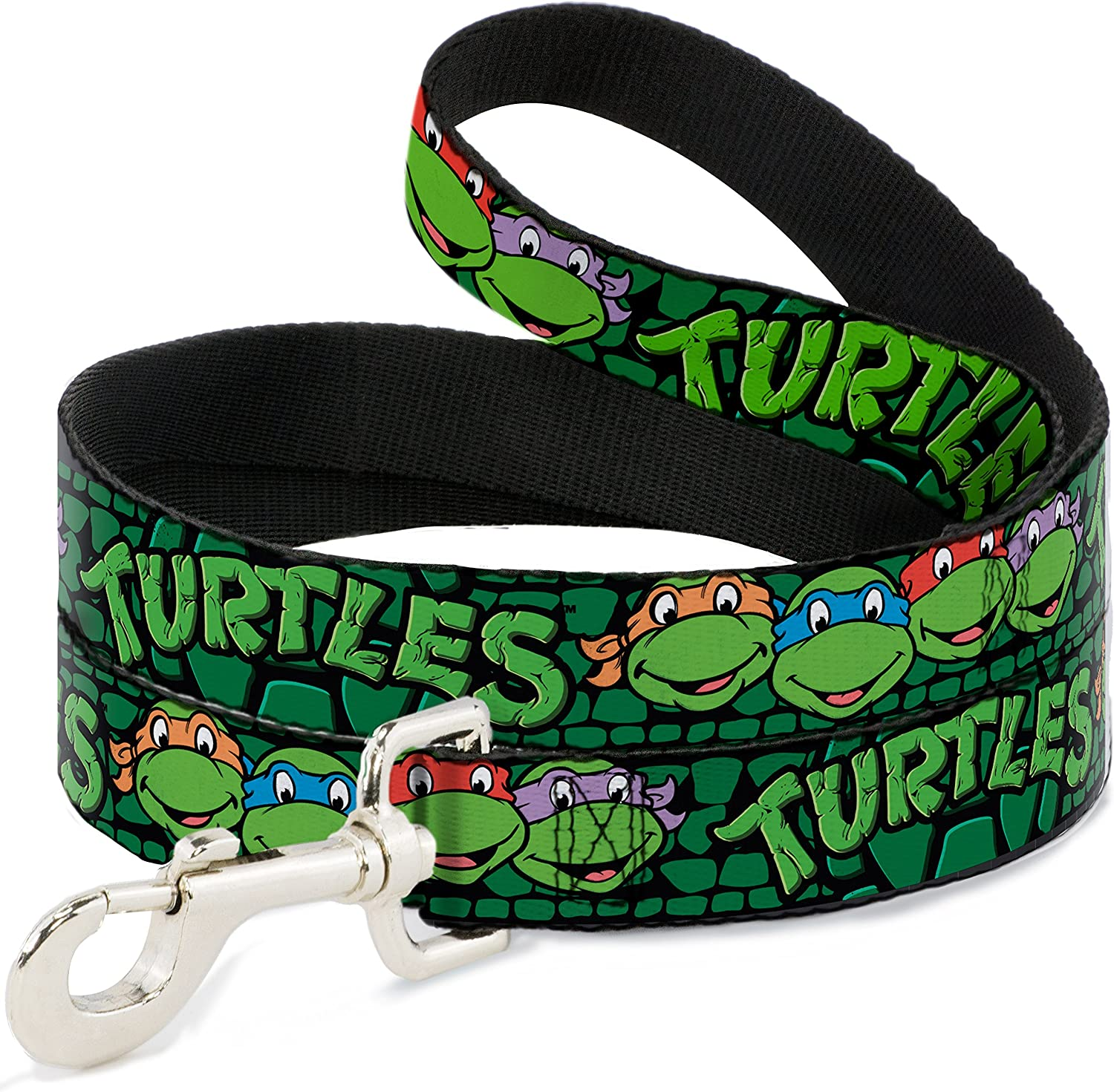 Buckle Down  Classic Tmnt Group Faces Turtles Turtle Shell Black Green Dog Leash, 4'