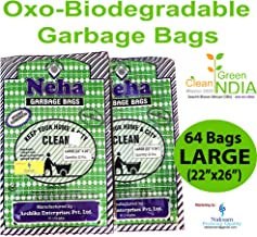 Neha Biodegradable Garbage Bags - Large Size(22 inch x 26 inch) With Rubber Band - Black (64 Bags)