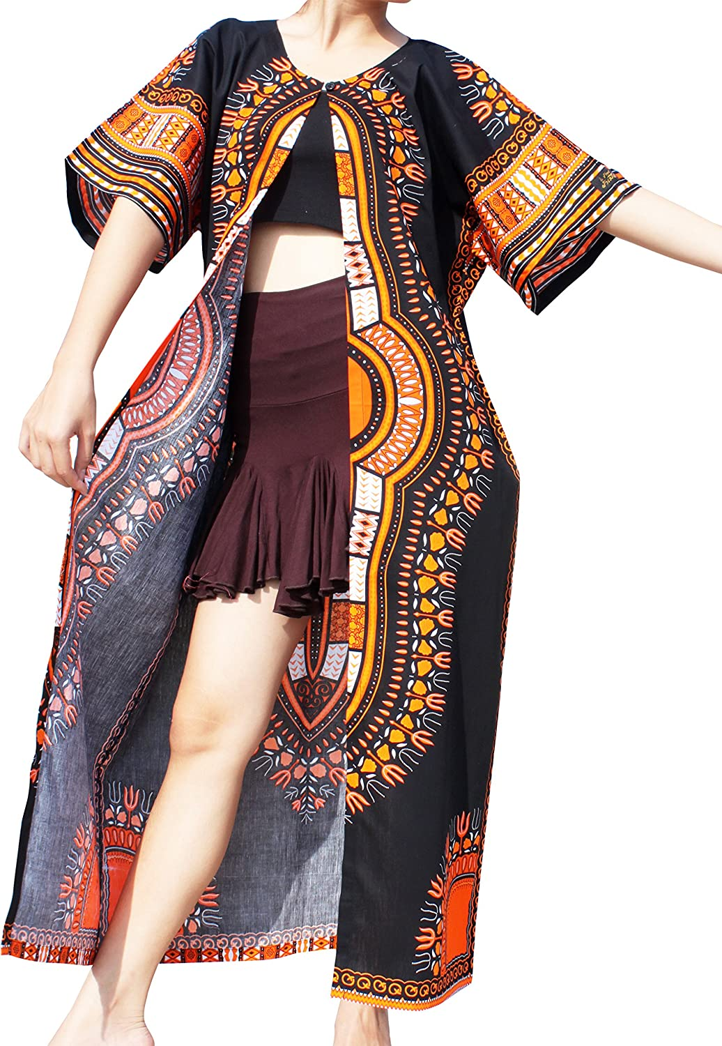 RaanPahMuang Casual Outer Cloak Part Dress Ladies Dashiki supreme Recommended Bold D