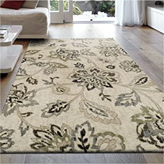 Superior 8mm Pile Height with Jute Backing, Beautiful Floral Pattern, Fashionable and Affordable Woven Rugs, 2'7