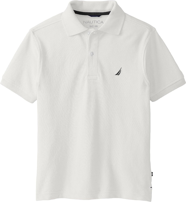 Nautica Boys' Short Sleeve Solid Pique Polo Shirt