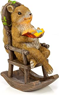 VP Home Squirrel Reading and Relaxing on Rocking Chair Solar Garden Light