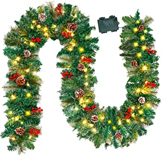 Juegoal 9FT Christmas Garland, Pre-lit Artificial Garland Decorations Greenery with Flowers, Berries Cones Balls Ornament,...
