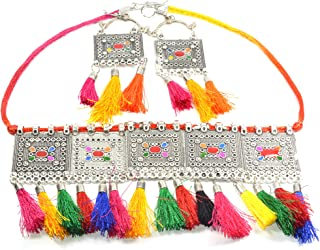 Frolics India Oxidised Silver Afghani Style Meenakari Touch Tassels Hangings Handcrafted Necklace Choker Set with Earrings...