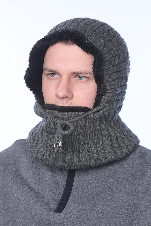 Bertelli Winter Knitted Warm Hat Fleece Lined, Balaclava, Face Mask, Neck Warmer, Face Warmer for Women Men