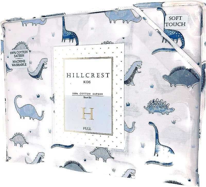Hillcrest Kids Ancient Dinosaurs Dino Blue White 100 Cotton Sateen Full Sheet Set