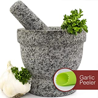 Mortar and Pestle Set - Unpolished Granite Bowl with Bonus Garlic Peeler | Great for Guacamole! | 2 Cup Capacity. Protective Pad for Stability and Protected Counters
