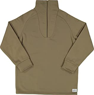 Men's Cold Weather Fleece-Lined Zip UP Thermal ECWCS Undershirt Top with Pin