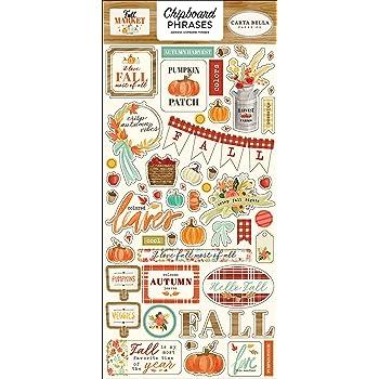 red Orange Teal Yellow Black Carta Bella Paper Company Hello Autumn 6x13 Chipboard Accents