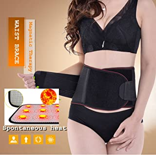 Lumbar Lower Back Brace and Support Belt with Dual Adjustable Straps.Spontaneous heat Acupuncture Magnetic Therapy-Trimmer Slimmer Compression Band for Weight Loss Workout Fitness (M)