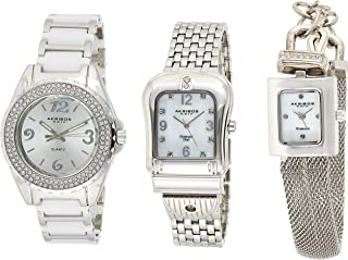 Akribos XXIV Women's Diamond Accented Silver Tone 3-Watch Set - AK600