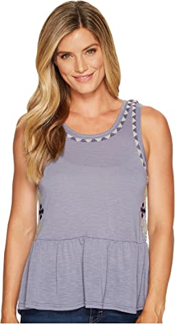 Peplum Tank Top with Embroidery