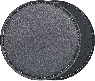 Leather/Felt Absorbent Coasters for Drinks with Holder, Set of 6 Black Coaster, Felt Absorbing, Leather Decorative, Non-Sl...