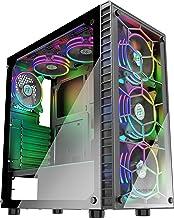 کیس کامپیوتر سری گیمینگ مسترتک سازگار با مادربورد atx بهمراه پورت usd 3و شیشه شفاف و بهمراه 6 فن 120 میلی متری رنگی