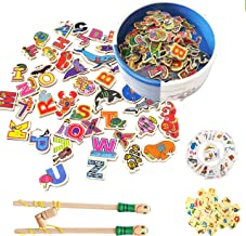 PETITOY Magnetic Wooden Fishing Game Toy for Toddler Kids Boy Girl Alphabet and Numbers with Catching Magnet Poles, Presch...