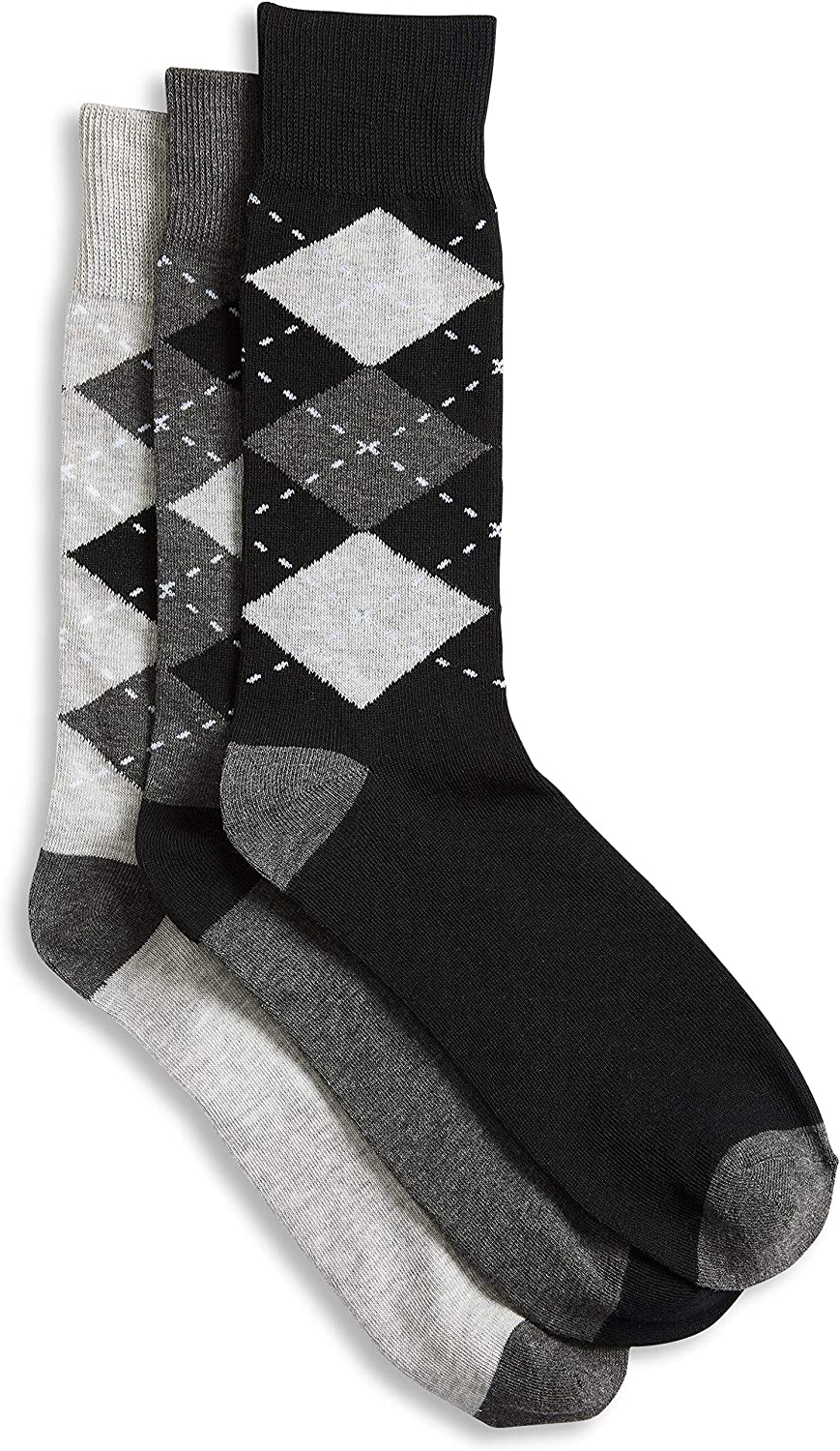 Harbor Bay by DXL Big and Tall 3-pk Argyle-Pattern Crew Socks, Black Assorted, 13-16