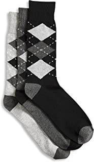 Harbor Bay by DXL Big and Tall 3-pk Argyle-Pattern Crew Socks, Black Assorted