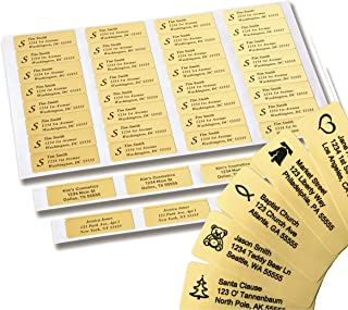 Return Address Labels - 250 Personalized Labels on Sheets (Gold)