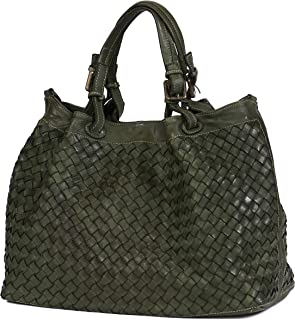 Women Top Handle Woven Leather Bag - Handmade Vintage Shoulder Bag Genuine Leather Purse