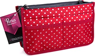 Periea Handbag Organiser - Chelsy - 28 Colours Available - Small, Medium Large (Large, Red with White Polka Dots)