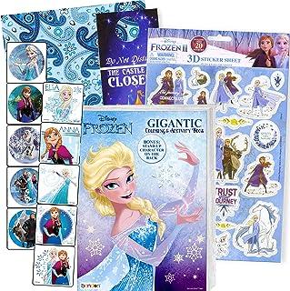 Disney Frozen Coloring Book Set with Frozen Stickers - Bundle Includes Frozen Floor Pad Coloring Book, Sticker Activity Bo...