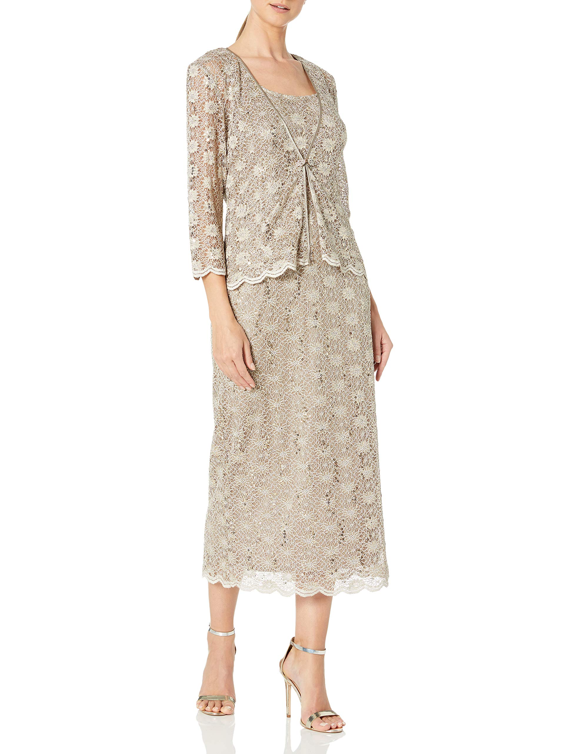 Mother Of The Bride Dresses - Women's 2 Piece Lace Swing Jacket Dress