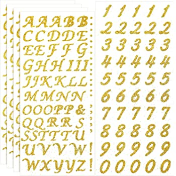 Gold and Silver 8 Sheets Sunmns Shiny Letter Gift Alphabet Sticker Self Adhesive Letters