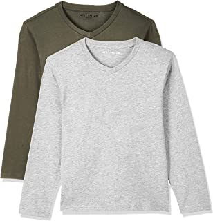 Kid Nation Kids Unisex 2 Packs Soft Cotton Tagless Long Sleeve V Neck T Shirts for Boys and Girls 4-12 Years