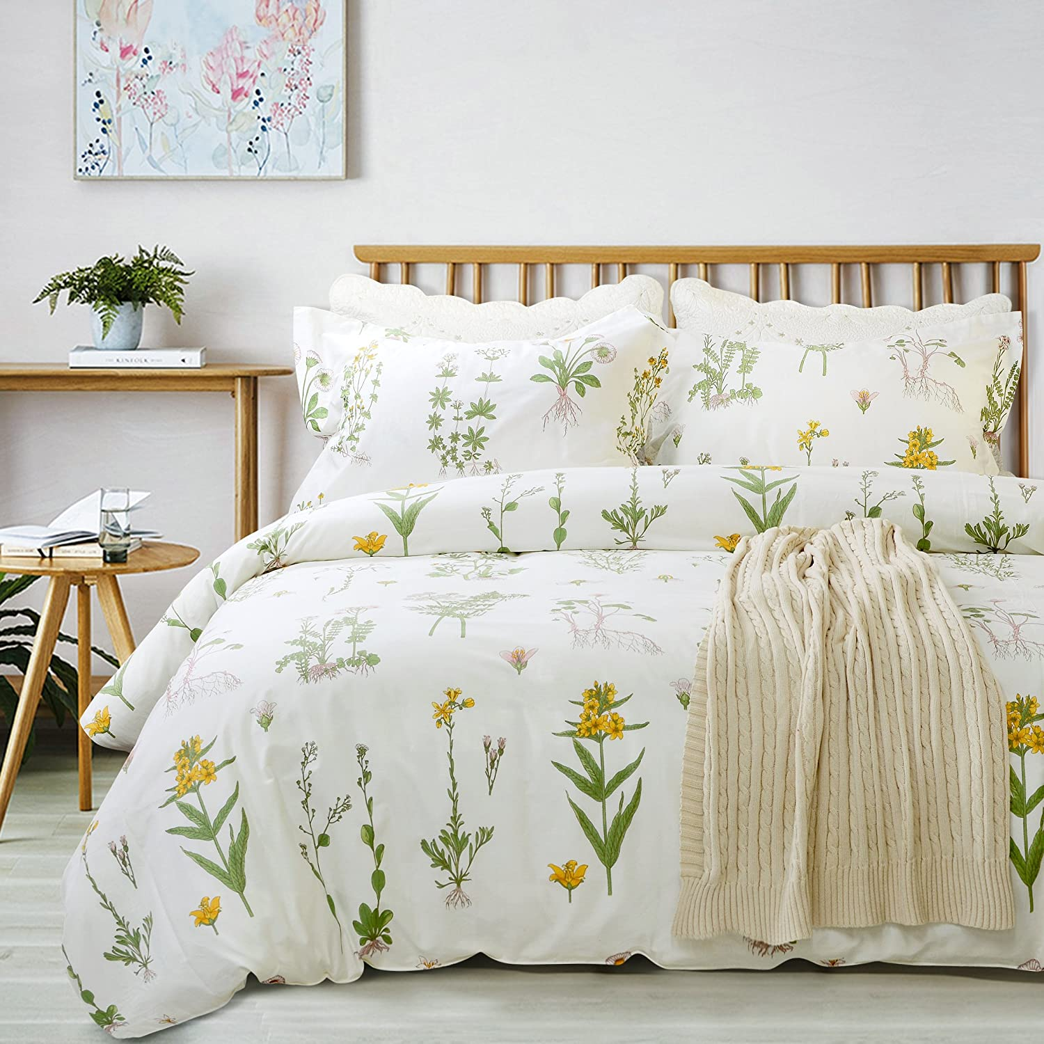 FADFAY Shabby Floral Duvet Cover Set White and Green Cotton Bedding Set with Hidden Zipper Closure 3 Pieces, 1duvet Cover & 2pillowcases (King/California King Size, Simple Style)
