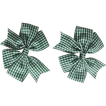 GREEN Gingham Bow Hair Clip Back to School Uniform school hair clips x2 bows