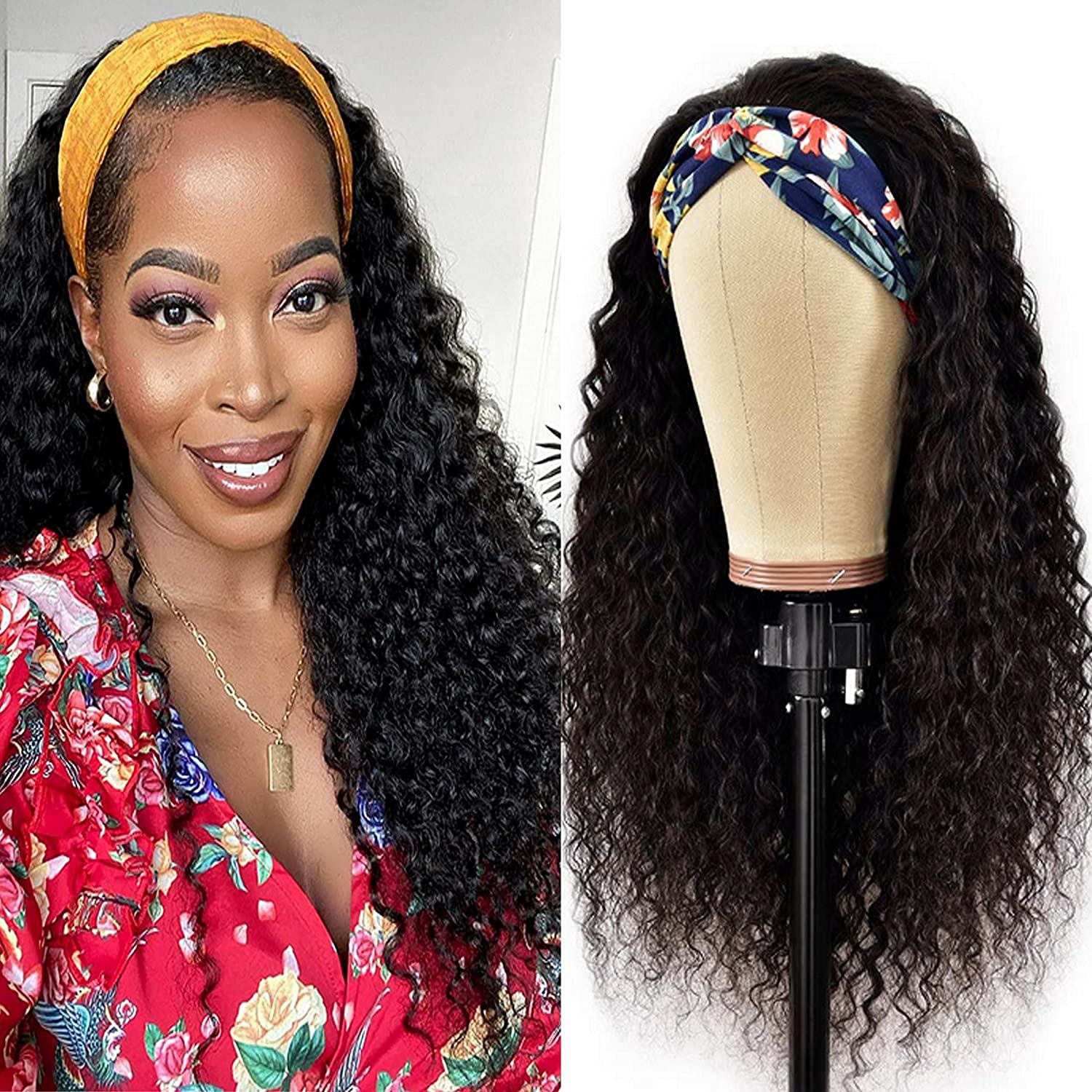 Lovenea Large special price !! Headband Wig Human Hair Deep Front Curly Superior Wave None Lace