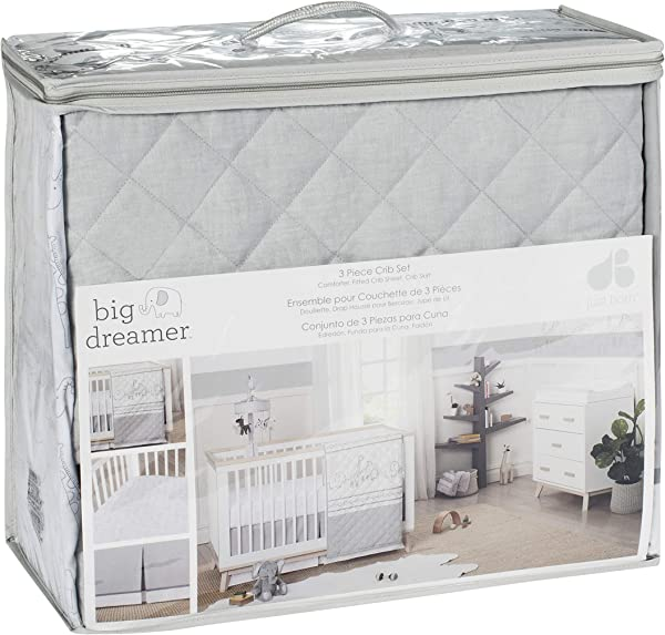 Just Born Little Dreamer 3 Piece Bed Set Grey Safari One Size
