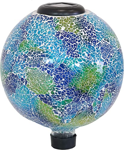 new arrival Sunnydaze Garden Gazing Globe with LED wholesale Solar Light, Crackled Glass Azul Terra Design, Outdoor and online Landscape Decor, 10-Inch outlet online sale