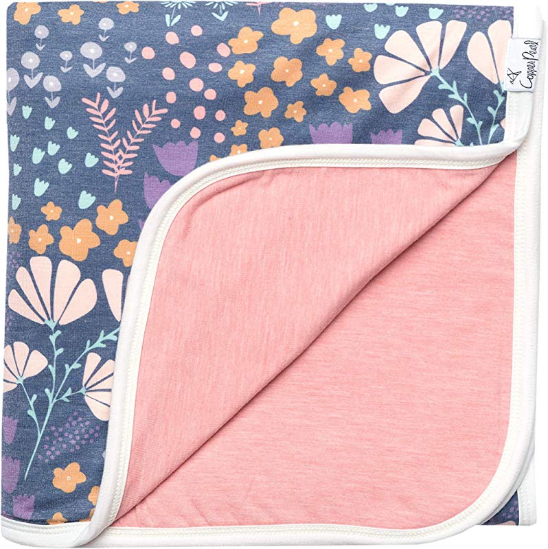 Large Premium Knit Baby 3 Layer Stretchy Quilt Blanket Floral Meadow By Copper Pearl