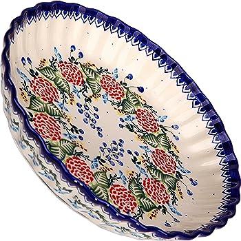 Royal Blue Patterns Small Lidia/'s Polish Pottery Inc 1208-280 Polish Pottery Ceramika Boleslawiec-1208//280 7-3//4 by 6-1//8-Inch Motif Fala Baker
