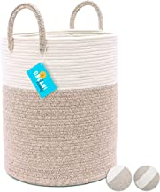 OrganiHaus Cotton Rope Basket in Brown and Off-White   Large Blanket Storage Basket for Living Room with Long Handles