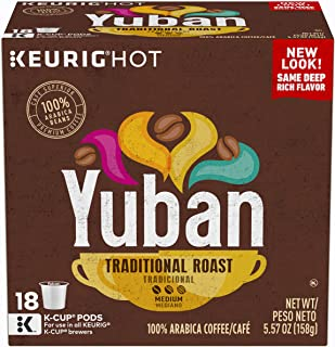 Yuban Traditional Roast Keurig K Cup Coffee Pods (72 Count, 4 Boxes of 18)