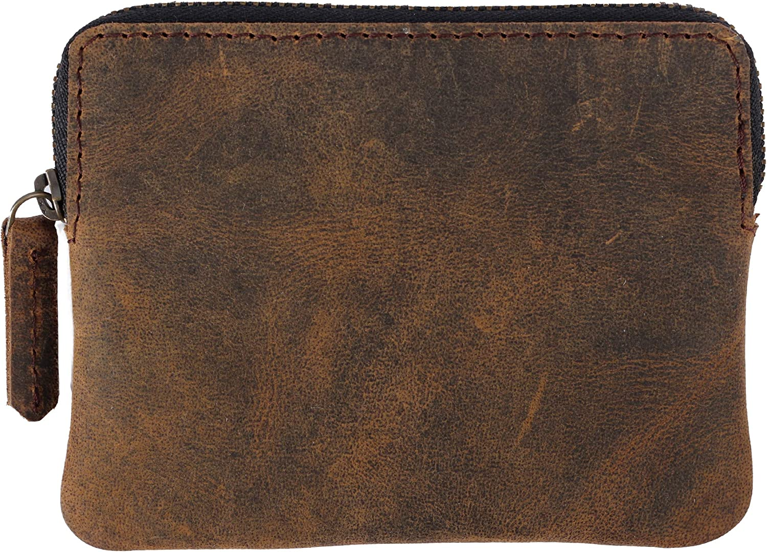Leather Zippered Coin Purse Pouch Change Holder Wallet Gift For Men & Women