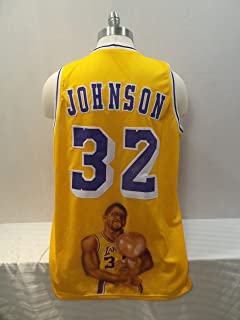 bdd77076967 Magic Johnson Signed Los Angeles Lakers yellow Autographed Custom Men XL  Jersey AIRBRUSHED IMAGE