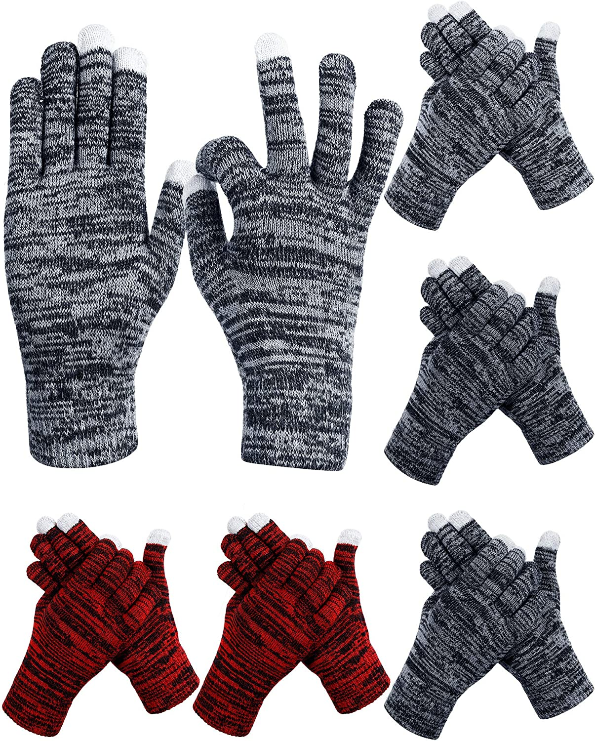 6 Pairs Winter Knit Gloves Touchscreen Gloves Full Finger Gloves Warm Thermal Elastic Cuff Typing Gloves Mittens