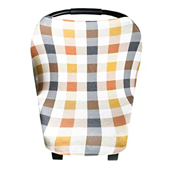 """Baby Car Seat Cover Canopy and Nursing Cover Multi-Use Stretchy 5 in 1 Gift""""Harvest"""" by Copper Pearl: image"""