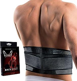 (Medium) - Venom Lumbar Back Brace Support w/ Adjustable Dual Straps - Elastic & Breathable Compression for Lower Back Pai...