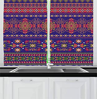 Ambesonne Paisley Kitchen Curtains, Bohemian Floral Pattern in a Border Design of Flowers Geometrical Shapes and Lines Mot...