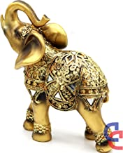 """Feng Shui 8"""" (H) Brass Color Elegant Elephant Statue with Trunk Facing Upwards Collectible Wealth Lucky Elephant Figurine, Perfect for Home Decor, Office Decoration Gift Crystal Collection"""